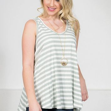 Dusty Striped Sleeveless Top | Pale Green