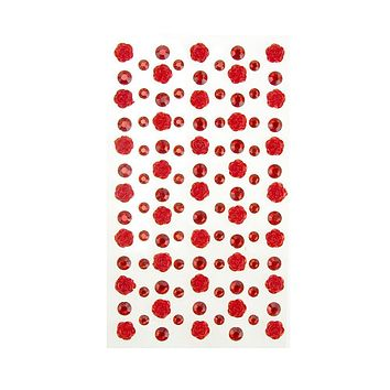 Rose and Flatback Gem Adhesive Rhinestone Stickers, Red, 105-Piece
