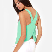 Short Chiffon Blouse Sleeveless Camisole Open Back Cross Tank Top Plus Size
