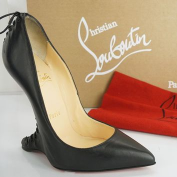 Christian Louboutin Conquilla Corset Black Leather Wedge Pumps Size 36 NIB $1395