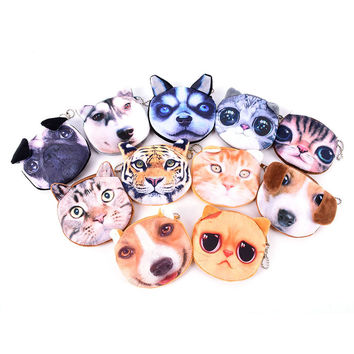 New Cute Cat Face Zipper Case Coin Purse female Wallet / child purse Makeup Buggy Bag Pouch cat man