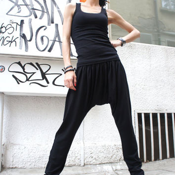 Now DHL shipping / NO additional fees /Loose Casual Black Drop Crotch Harem Pants / Casual Black Pants