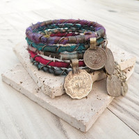 Silk Road Gypsy Bangle Stack - Dark Berries - 5 Bracelets, Bohemian Tribal, Silk Wrapped and Beaded