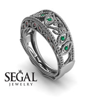 Unique Engagement Ring 14K White Gold Vintage Art Deco Edwardian Ring Filigree Ring Green Emerald With Ruby - Gianna