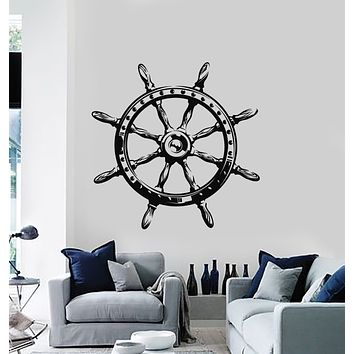Vinyl Wall Decal Ocean Sea Style Steering Wheel Ship Anchor Stickers Mural (g752)
