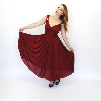 Vintage 1970s does 1940s Burgundy Red Maxi Dress Goddess Disco Glam Cocktail Dress 40s Swing Dress Old Hollywood Glamour Gown 197os Prom