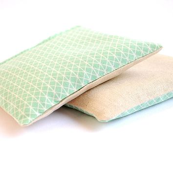 Organic Lavender Sachets in Geometric Mint & Linen - Set of 2