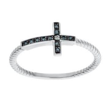 .04 cttw Blue and White Diamond Sideways Cross 925 Sterling Silver Ring