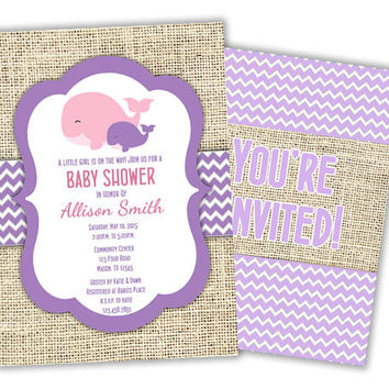 Girls Nautical Whale Baby Shower Invitations - Pink Girl Baby Shower Invites - Burlap Chevron - Ocean Baby - Nautical Shower - its a girl