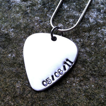 Guitar Pick Necklace with Stamping on Edge - Custom Necklace - Personalized Necklace