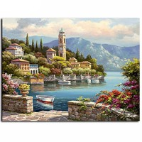 "DIY Painting by Numbers Canvas Painting Set - ""Spanish Port"""