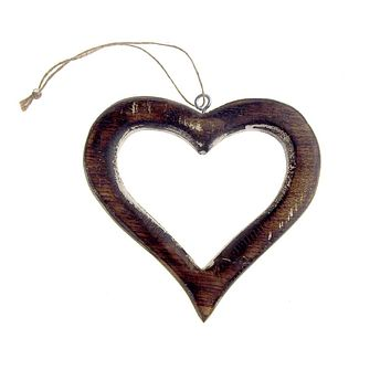 Hanging Distressed Wooden Heart Cut-Out Christmas Tree Ornament, 5-Inch