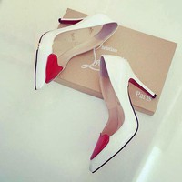 Christian Louboutin Fashion Heart Pointed Toe Heels Shoes-1