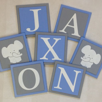 Elephant Nursery Room Decor Art, Customized Baby Boy Wall Blocks