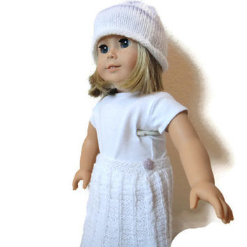 American Girl Doll Skirt Hat Hearts Lavender White