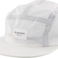 Diamond Stone Cut 5 Panel Camp Hat Adjustible White