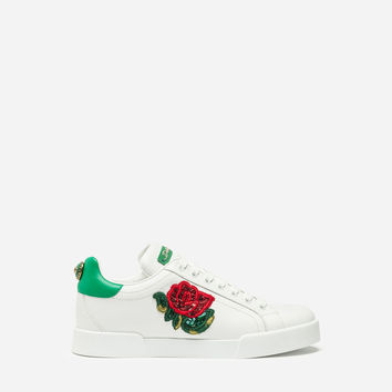 Women's Sneakers | Dolce&Gabbana - PORTOFINO LEATHER SNEAKERS WITH ROSE PATCH