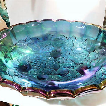 Indiana Harvest Blue Iridescent Carnival Glass Grape and Leaf Oval Console Bowl 1960s 60s Mid Century Kitchen Country Cottage Home Decor