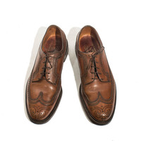 Men's Vintage Florsheim Imperial Longwing Gunboat Shoe Scotch Grain Wingtips Brogue Perforated Dress Shoe Size 11 1/2 C