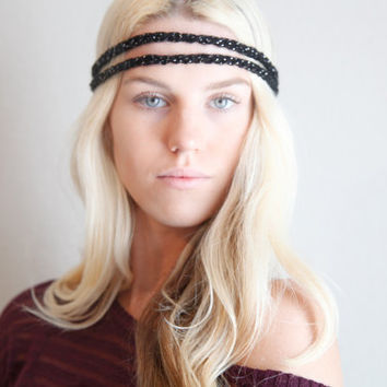 Double Strand Headband Double Braid Hair Band Hippy Style Boho Music Festival Hairwrap in Black w/ Sparkles
