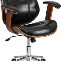 Mid-Back Black Leather Executive Wood Swivel Office Chair