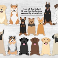 Front of Dog Butt Graphics 2 Sitting Dog Illustrations Labrador Retriever Shiba Inu Min Pin Yorki Doberman Pointer Mastiff Aussie Chihuahua