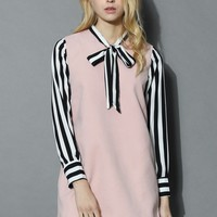 Sweet Bow and Stripes Pink Dress