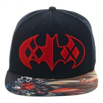 Batman Harley Quinn Sublimated Bill Snapback Adult Embroidered Hat Cap Black