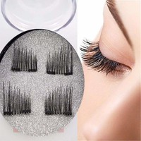 4Pcs Magnetic Eyelashes 3D Handmade Mink Reusable False double Magnet Eye Lashes