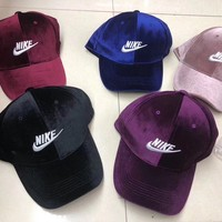 """Nike"" Unisex Fashion Casual Solid Color Letter Embroidery Velvet Duck Tongue Cap Baseball Cap Couple Sports Cap Hat"
