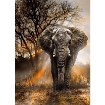 The 5D diamond painting by numbers of wall art Elephant DIY wall pictures for living room decoration Elephant diamond painting