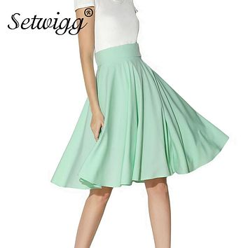 SETWIGG Summer Skirts Womens Vintage High Waisted Candy Mint Green Pink Lush Pleated Flare Midi Skirt Jupe