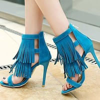 Fringe Embellished Cutout Round Toe Sandals