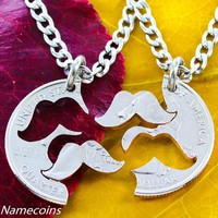 Mustache Necklace, quirky couples coin puzzle jewelry by Namecoins