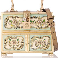 Dolce & Gabbana - Dolce leather-trimmed printed wood shoulder bag
