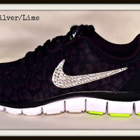 Nike Free 5.0 with Swarovski crystal swoosh Black/Silver/Lime
