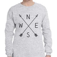 Men's Long Sleeve Compass Arrow Crossed Cool Graphic Top NWSE