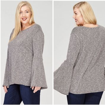 PLUS SIZE Ribbed Bell Sleeve Washed Top in Black