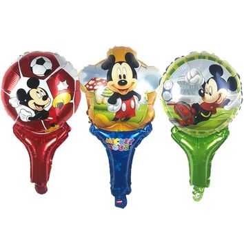 10PC Mickey mouse story Hand stick air balloon Aluminum foil balloons happy birthday party decorations kids toy Supplies