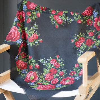 Vintage floral Russian scarf boho peasant scarf red roses black background wool scarf