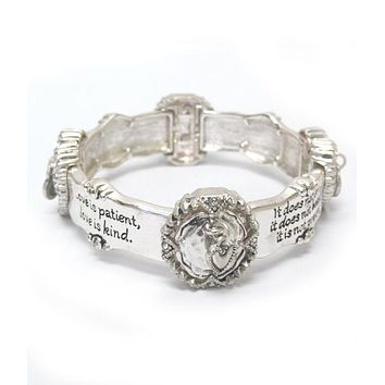 Religious Inspiration Message Stretch Bracelet - 1 Cor 13