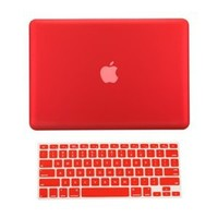 TopCase 2 in 1 Rubberized RED Hard Case Cover and Keyboard Cover for Macbook Pro 13-inch 13