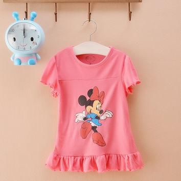 2016 bow girls clothing minnie mouse children pretty tops baby girl summer cartoon cot