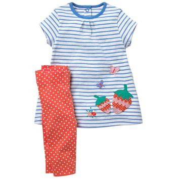 Fashion Baby Clothes Newborn Girls Strawberry Applique Clothing Sets  Infant Dresses + Leggings Summer Outfit Kids Tracksuit