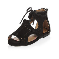 Mini girls black cut-out sandals