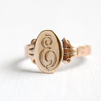 Antique Edwardian Monogrammed E 9k Rose Gold Ring - Vintage Early 1900s Initialed Fine Jewelry