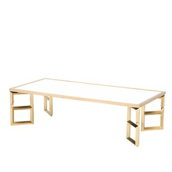 Beveled Leg Cocktail Table in Brass