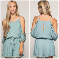 Pastel Slate Cold Shoulder Romper