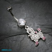 Adorable Poodle Pup Belly Button Ring