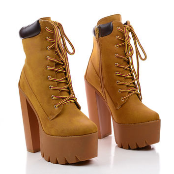 Rocker10 Lace Up Lug Sole Platform Chunky Heel Work Boots